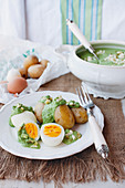 Hard-boiled eggs with potatoes and a herb and mozzarella sauce