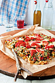 Gratinated oven-roasted vegetables with mozzarella