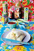 Oriental mozzarella summer rolls
