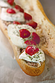 Baguette with tuna, mozzarella and cherry tomatoes