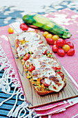 Gemüse-Ciabatta mit Mozzarella überbacken