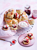 Buttermilk scones with clotted cream and jam