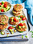 Ham, zucchini and green onion fritters with avocado salad
