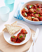 Chicken and apple meatballs in tomato sauce