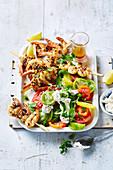 Dukkah prawn skewers with labne