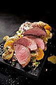 Spanish pork collar steaks with an orange and potato salad