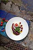 Chilli and goats cheese pannacota with beetroot