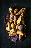Nasturtium bulbs, olluco potatoes, brown olluco potatoes and purple potatoes