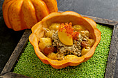 Sweet-and-sour pumpkin with roasted butternut cream