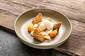 Persimmon, green apple and ginger with buckwheat and sage ice cream