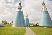 The Art and Exhibition Hall of the Federal Republic of Germany with three light spires on the roof clad in blue majolica, Bonn, North Rhine Westphalia, Germany
