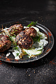 Venison meatballs with cucumber salad