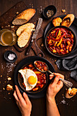 Brittany style beans with paprika and eggs