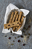 Protein bars made from quinoa, hemp seeds, cranberries and chia seeds