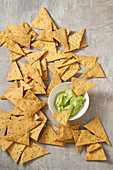 Chickpea flour tortilla chips with guacamole