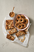 Vanilla blondies and cinnamon doughnuts