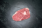 Raw Australian Wagyu beef rib-eye steak