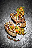 Grilled tuna steak with a mint and freekeh salad