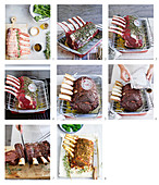 Prepare rosemary and green peppercorn beef rib roast
