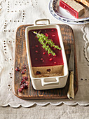 Goose pate with cranberry jelly