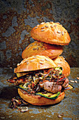 Spider steak burger with bacon jam and grilled vegetables