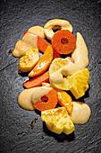 Caramelised fruit with sabayon