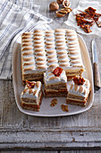 Walnut slices with caramel and cream