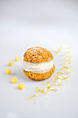 Classic French Choux au Craquelin with a piped vanilla cream