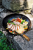 Chilled loin with soba noodle salad and stir-fried vegetables