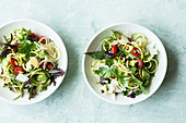 Zoodle salad with avocado and Parmesan