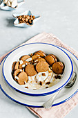 Chocolate mini pancake cereal with peanut butter and yogurt