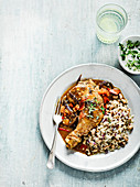 Jamaican chicken with rice and peas