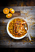 Salmon in an orange and spaghetti squash curry