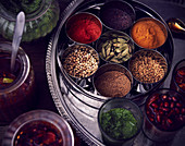 Masala box with various spices and pickle