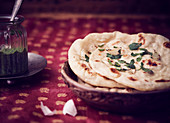 Naan breads with coriander pickle