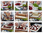 Pie with beets and goat cheese