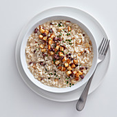 Risotto with roasted Jerusalem artichoke and olives