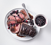 Roast veal with blueberry sauce