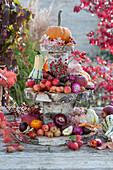 Selbstgebaute Etagere aus Birkenstämmen und Birkenscheiben als Tischdeko mit Kürbissen, Zieräpfeln, Hagebutten, Kastanien und Blüten von Hortensie und Strohblume