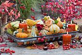 Tischdeko mit Zierkürbissen, Maiskolben, Rosenblüten, Kerzen und Herbstlaub