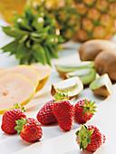 Strawberries, kiwi, pineapple and mango