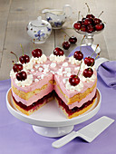 Cherry cake with almond sponge