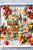 Turkey rolls with sage tomatoes and goat's cream cheese