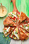 Filled flatbreads with zucchini, bell pepper and cheese