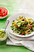Zucchini and rocket pasta with avocado cashew cream