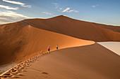Hikers on sand dune, Namibia