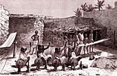 Cotton spinning in Somalia, 19th Century illustration