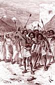 Daout warriors, Somalia, 19th Century illustration