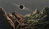 Total lunar eclipse seen from the Moon, illustration