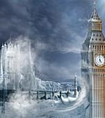 Ice age London, conceptual illustration